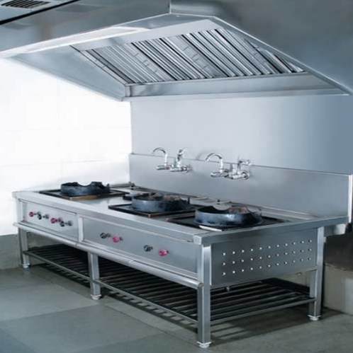 Stainless Steel Chinese Gas Range With Exhaust Hood