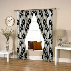 Caligraphic Grey-Black Curtain