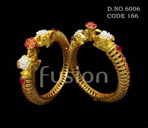 387c9919b34 Elephant Design Ruby Matt Polish Bangles, Rs 830 /pair, Fusion Arts ...