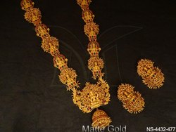 Clustered Laxmi Ji Temple Jewellery Necklace