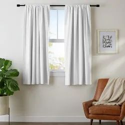 White Plain Polyester Window Curtains, Size: 6x4 Feet