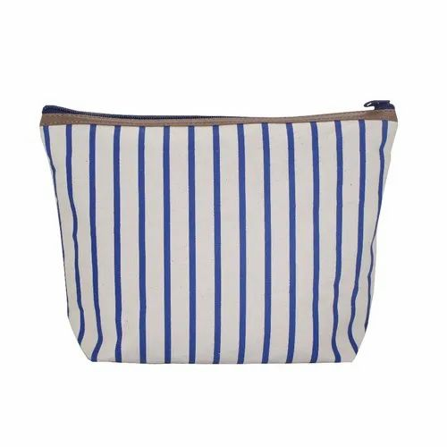 Stripe Print Zip Closure Top PU Trimmed With Inside Polyester Lined Natural Cotton Canvas Travel Bag