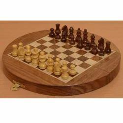 Round Wood Chess Board