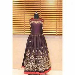 Mehroon Festive Wear Girls Embroidery Gown