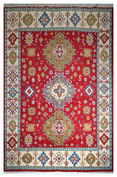 Beautiful Royal Hand-knotted Red Color Kazak Wool Carpet