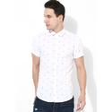 Mens White Printed Casual Shirt
