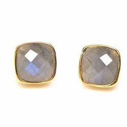 Labradorite Cushion Shape Earring Stud