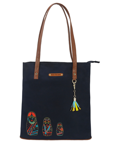 Funk For Hire Navy Blue Bag With Brown Strp And Trims Women Doll Printed