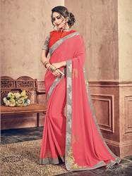 PR Fashion Pink Chiffon Jari Embroidery & Stone Work Saree