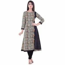 Cotton Casual Wear Ladies Printed Long Kurti, Size: M-XXL, Wash Care: Dry clean