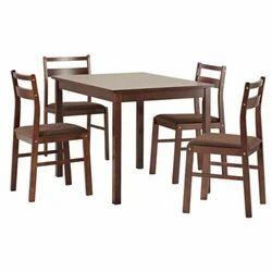 Madesos Dwartab Dining Table In Teakwood With Dark Brown-four Seater Dining Set
