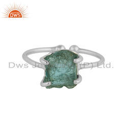 Sterling Fine Silver Prong Set Neon Apatite Gemstone Ring Jewelry