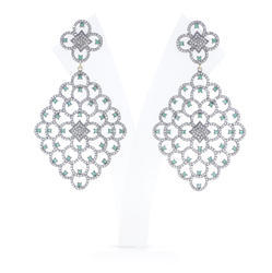 Diamond Emerald Dangle Earrings