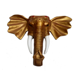 Golden Color Stunning Elephant Face Wall Mount