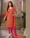 Orange, Pink Designer Cotton Salwar Suit