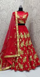 Red Net Fabric Ladies Designer Embroidered Lehenga Choli, 2.25 Meter