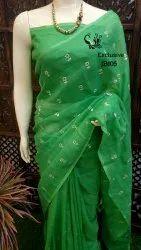 Linen Plain Border Embroidered Sarees