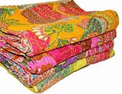 Hand Stitched Printed Kantha Bedspread