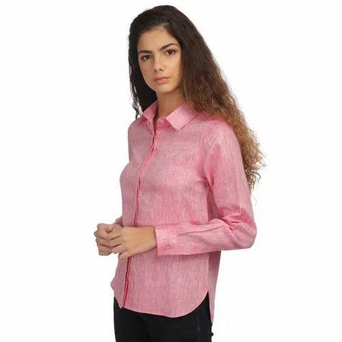 100% Linen Ladies Plain Pink Shirts, Packaging Type: Packet
