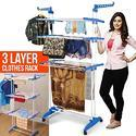 Techtest Blue Cloth Drying Stand, Shape: Rectangular