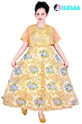 Yellow Printed Girls Gown
