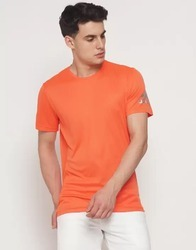 Casual Wear Plain Adidas Round Neck Orange T Shirt, Size: S - XL