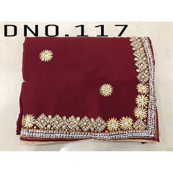 Georgette Party Wear Ladies Embroidery Saree