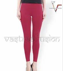 Straight Fit Plain Ladies Regular Wear Lagging -Maroom Color
