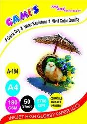 GAMI'S Inkjet High Glossy Photo Paper - A4, 180 GSM