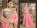 Stylish Pinkish Plain Fancy  Saree