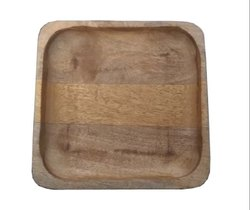 Plain VM Handicraft Wooden Square Serving Tray, Size: 8x8x1 Inch