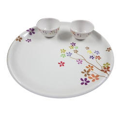 White Printed Melamine Plate Bowl Set, Packaging Type: Box