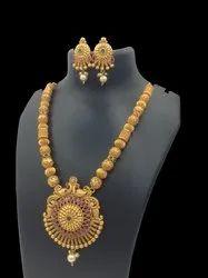 Matte Finish Copper Long Jewellery Set