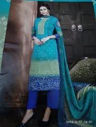 Green Palazzo Bandhani printed Cotton Ladies Suit, 42, Chiffon