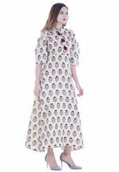Half Sleeve Off White Dress