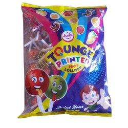Multifruit Round Juju Tongue Print Fruit Lollipop, Packaging Type: Packet