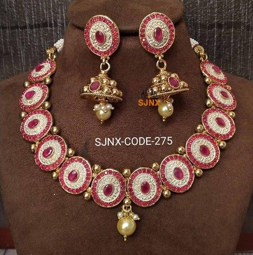 ab3e7e0832091 Traditional Red Color Kundan Necklace Set For Women
