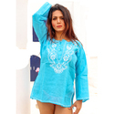 Chikan Embroidery Kurti Tunic Dress For Women