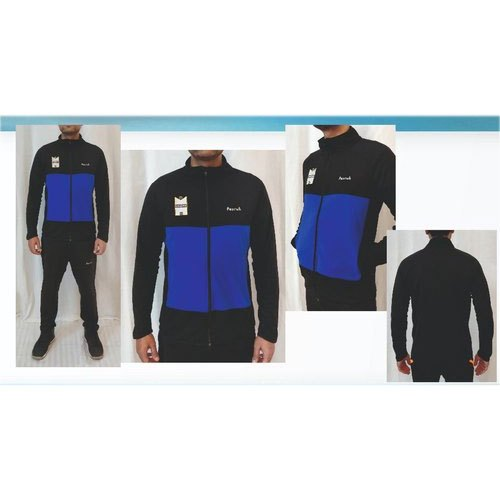 Mens Full Sleeve Black And Blue Dri Fit Jackets, Size: S-XXL