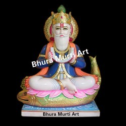 Painted Marble Jhulelal Statue