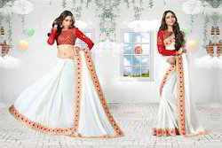 Traditional White Colored Designer Saree With Red Blouse