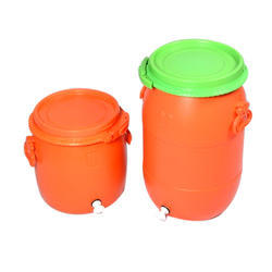 Orange Mitsu Chem Plastic Drums With Taps, For Water Storage, Capacity: 0-50 litres