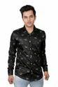 Black Collar Neck Vida Loca Satin Cotton Printed Shirt For Men