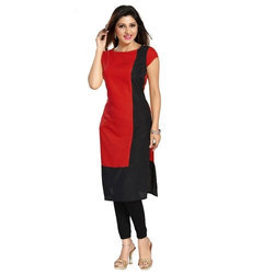 Plain Black and Red Ladies Kurti