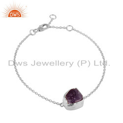 Amethyst Gemstone Designer Fine Silver Chain Bracelets