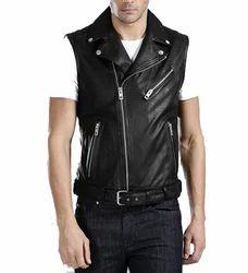 Men Sleeveless Leather Jacket