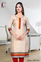 Beige with Red Border Tripura Cotton Uniform Kurti