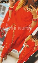 Ladies Red Kurti with Bottom