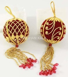 Zari Embroidery Decorative Christmas Ball