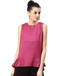 Women Maroon Solid A-Line Dobby Top